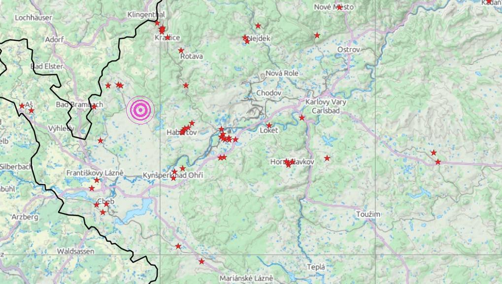 Mapa s místy, kde bylo pocítěno nejsilnější zemětřesení