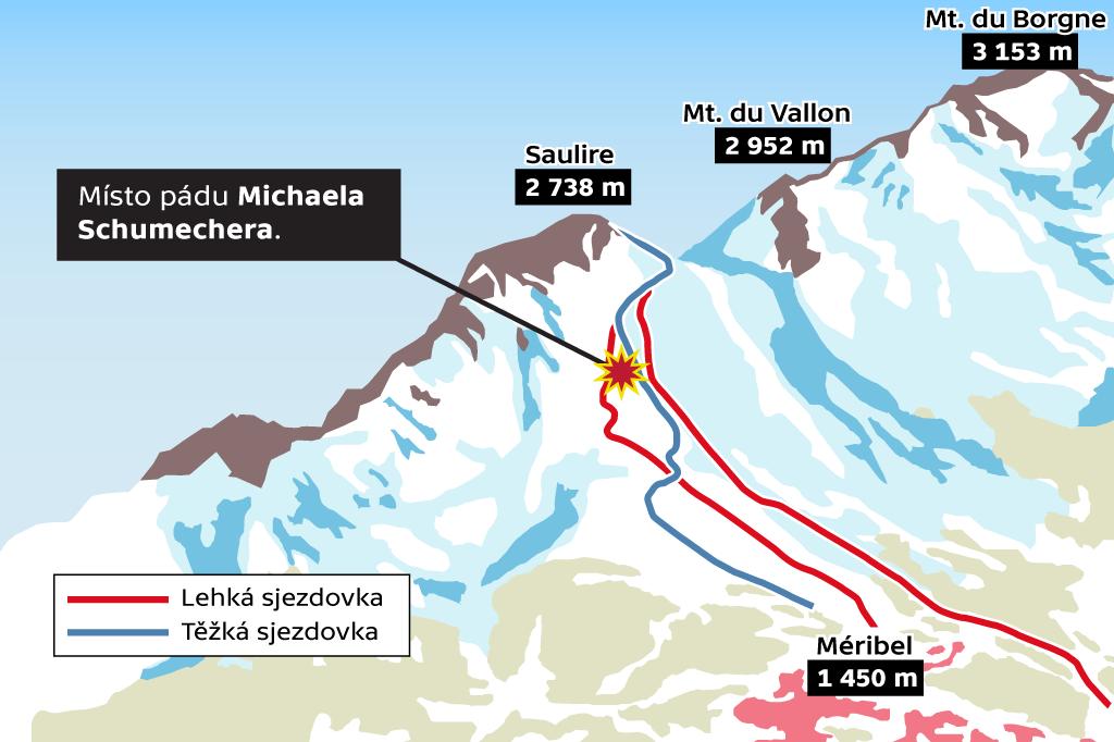 Místo pádu Michaela Schumachera ve středisku Méribel