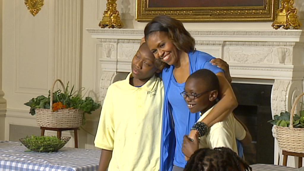 Michelle Obamová s dětmi v Bílém domě