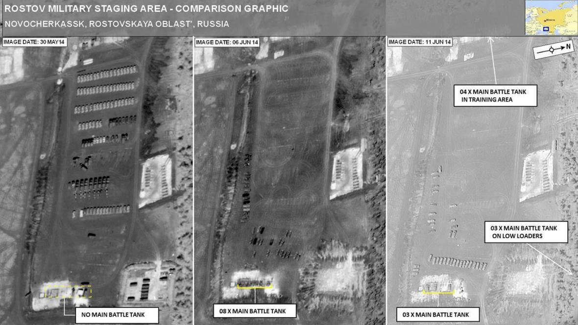 Satelitní snímky mají dokazovat přesun ruské obrněné techniky