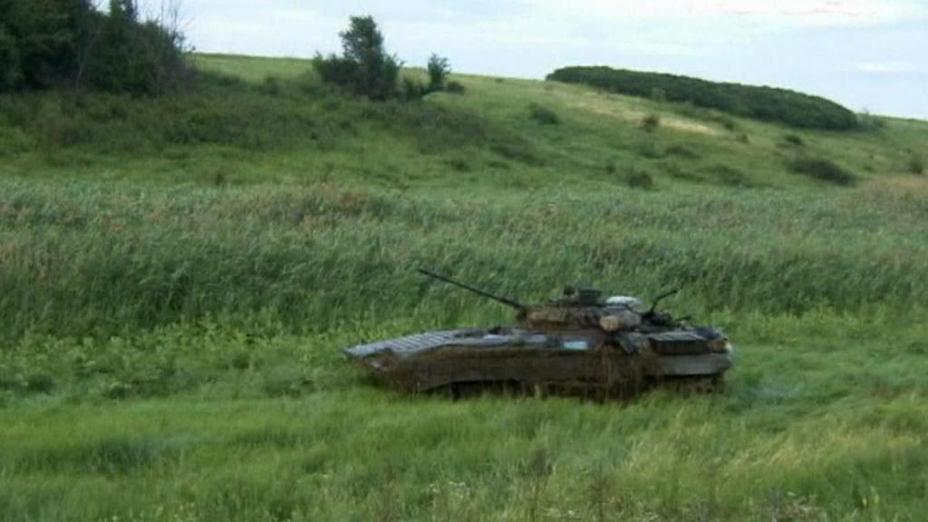 Opuštěné ukrajinské obrněné vozidlo na ruském území