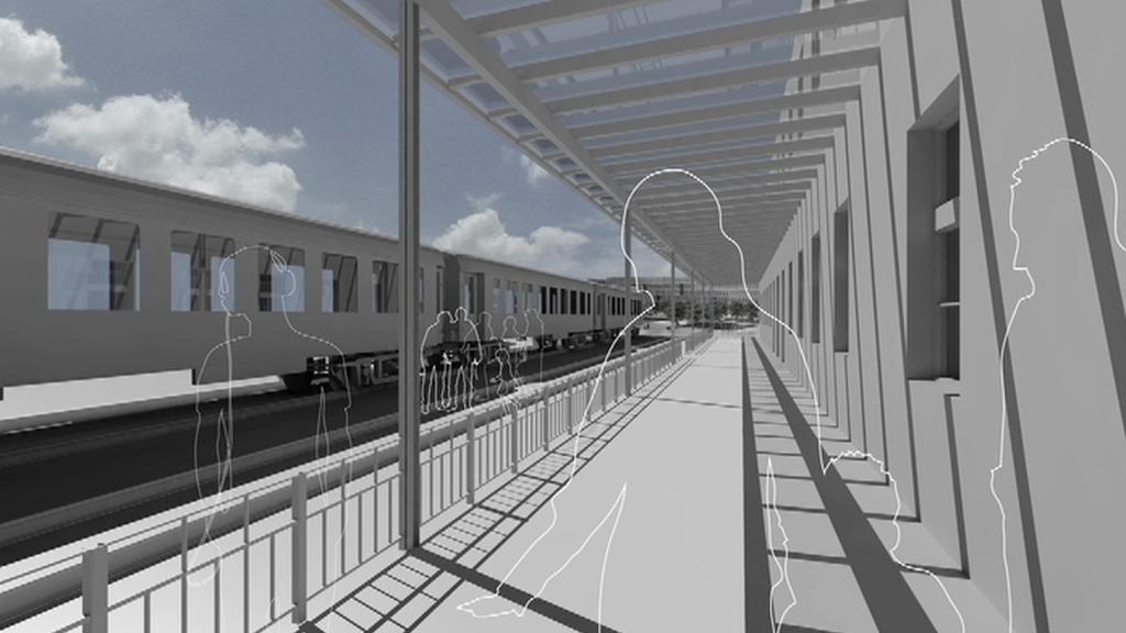 Vizualizace vlaku, který návštěvníky památníku odveze do suterénu