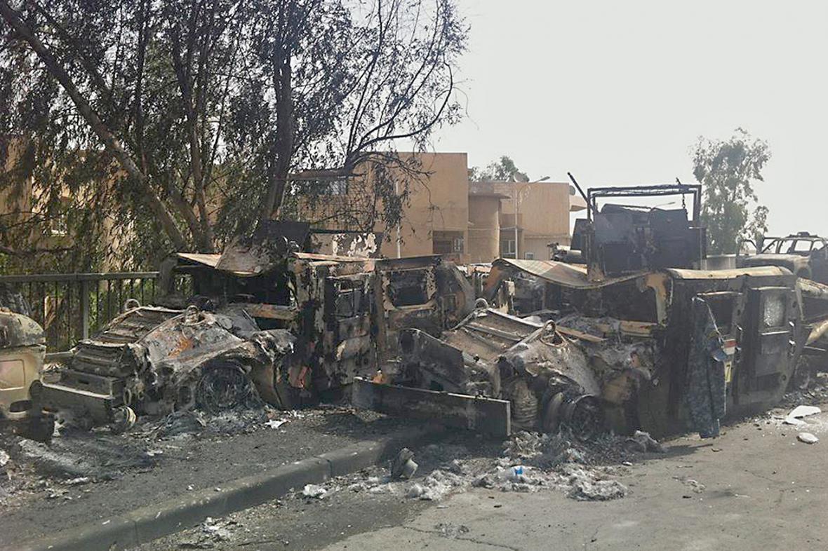 Následky bojů v Mosulu