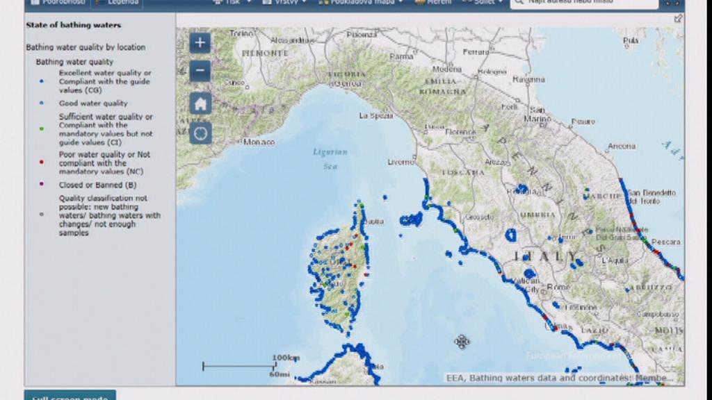 On-line mapa kvality vody