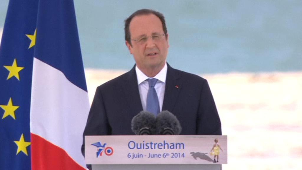 Francois Hollande během projevu k 70. výročí vylodění