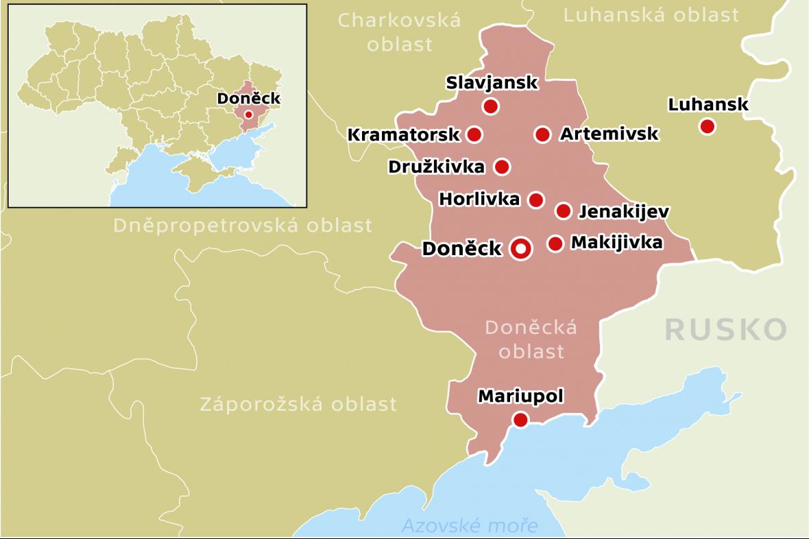 Mapka Doněcké oblasti