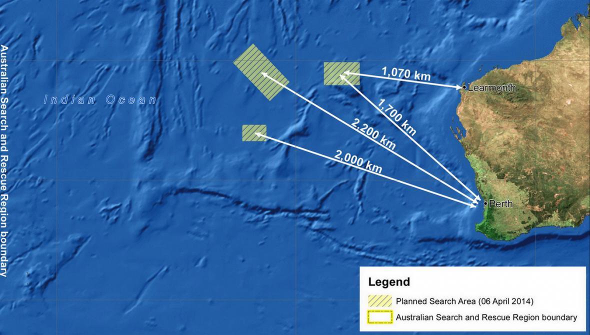 Prohledávané oblasti v Indickém oceánu