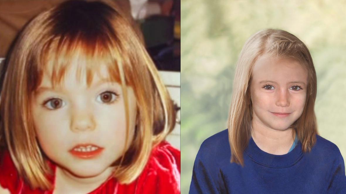 Maddie před zmizením a jak by mohla vypadat dnes (vpravo)
