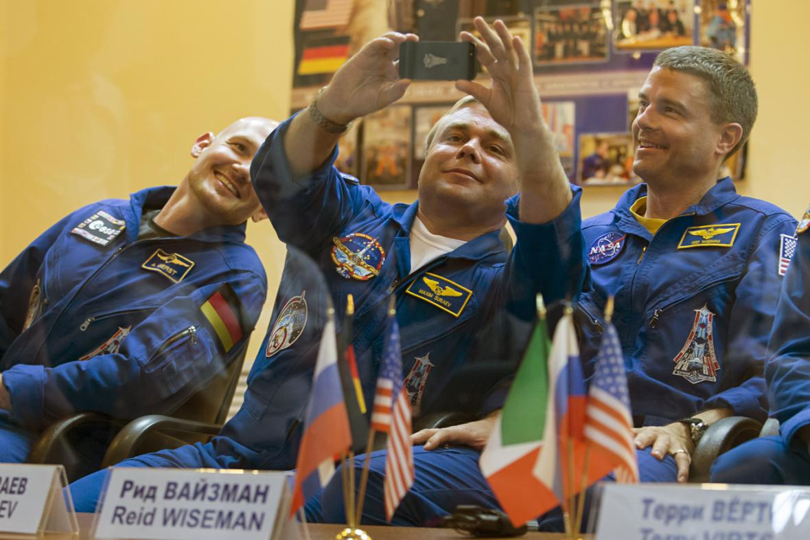 Alexander Gerst, Maxim Surajev a Reid Wiseman