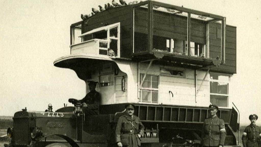 Londýnský autobus převáží poštovní holuby