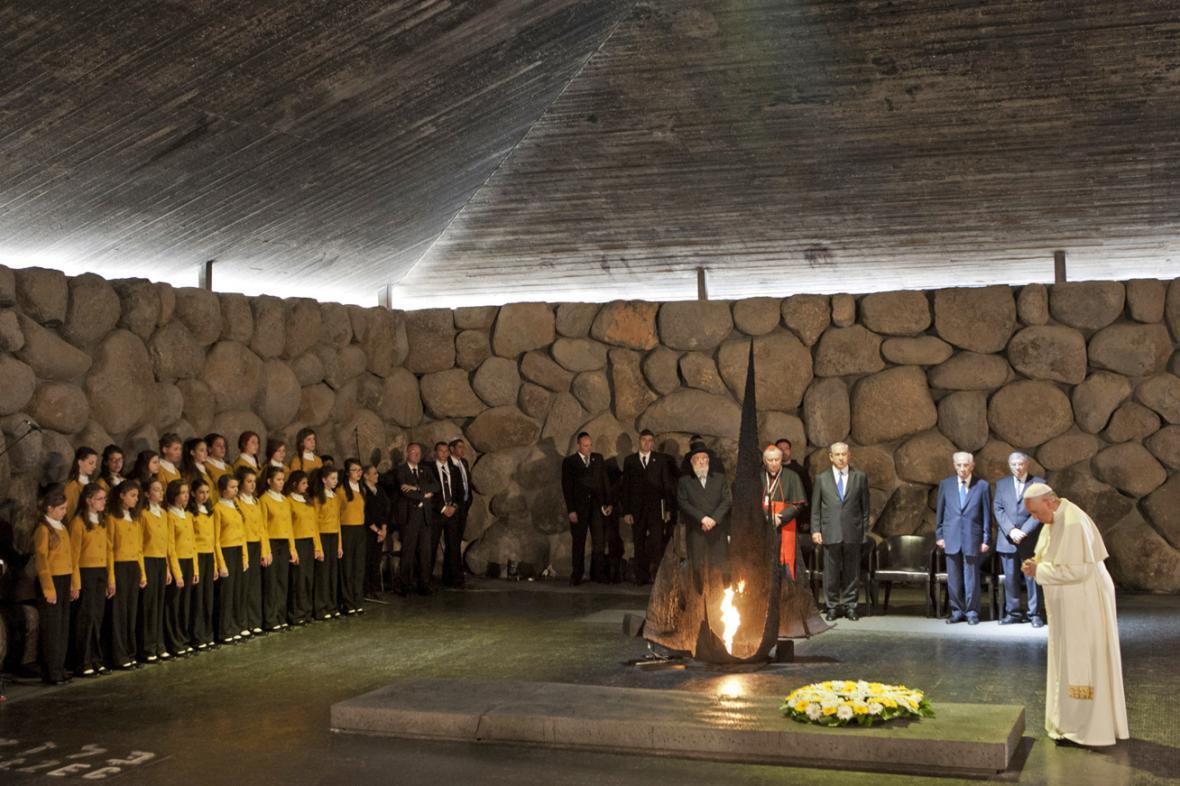 Papež František v památníku Jad vašem