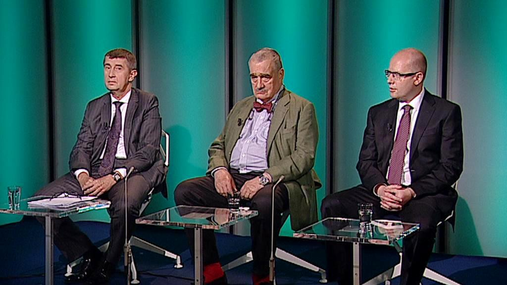 Andrej Babiš, Karel Schwarzenberg a Bohuslav Sobotka