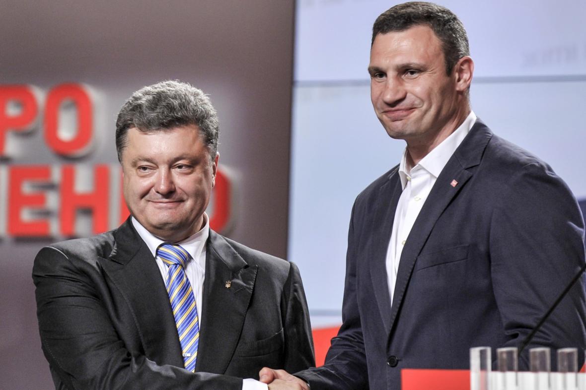 Petro Porošenko a Vitalij Kličko