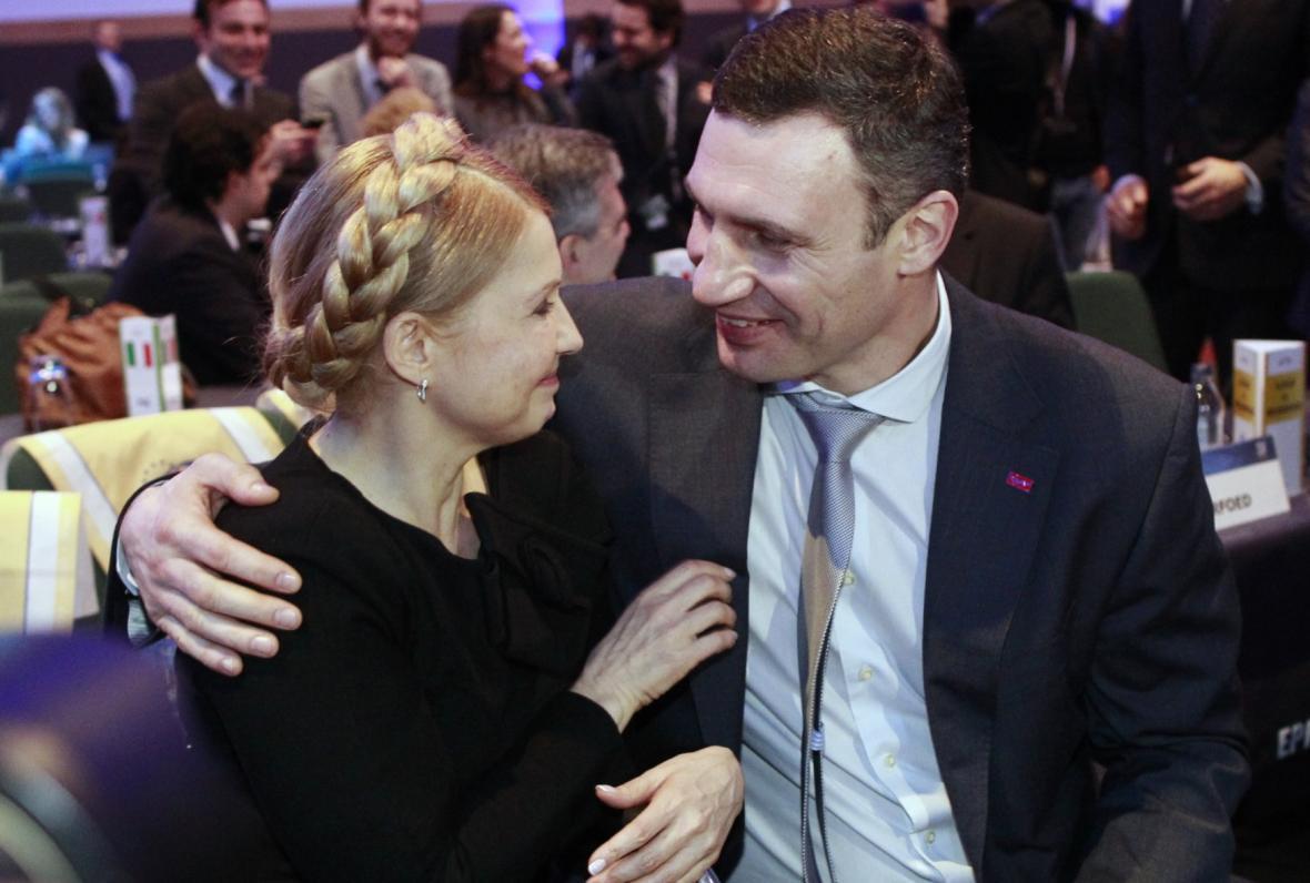 Julija Tymošenková a Vitalij Kličko