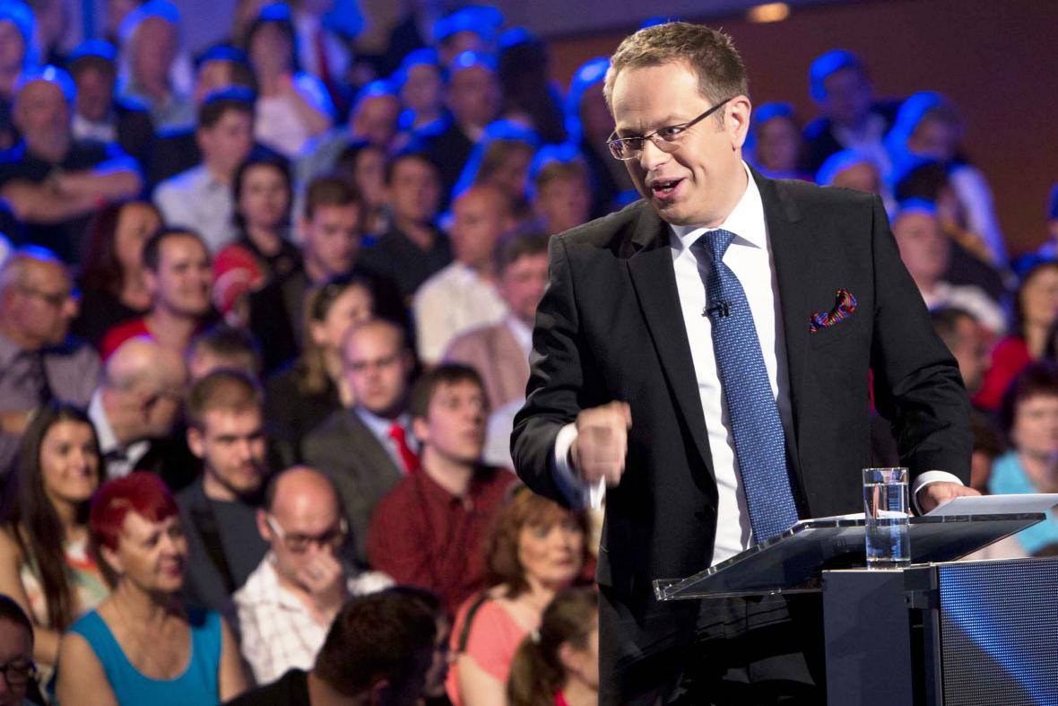 Václav Moravec při Evropské superdebatě České televize