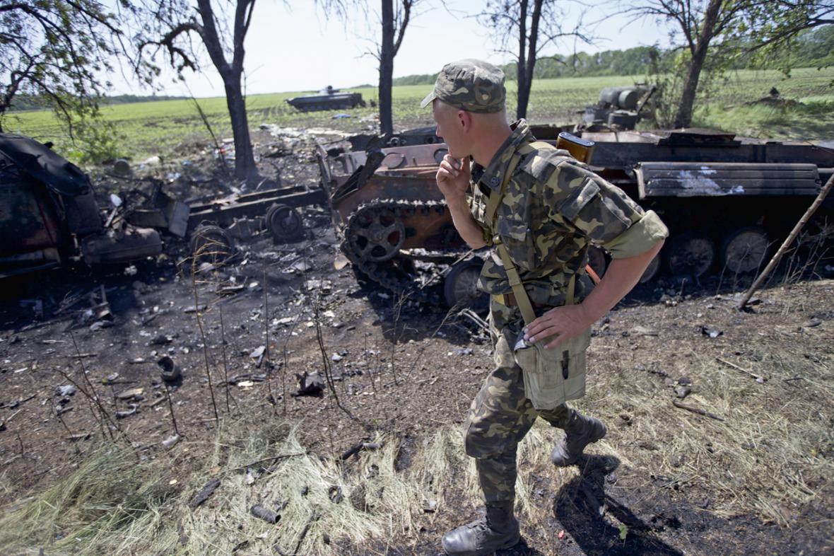 Následky bojů u ukrajinské obce Blahodatne