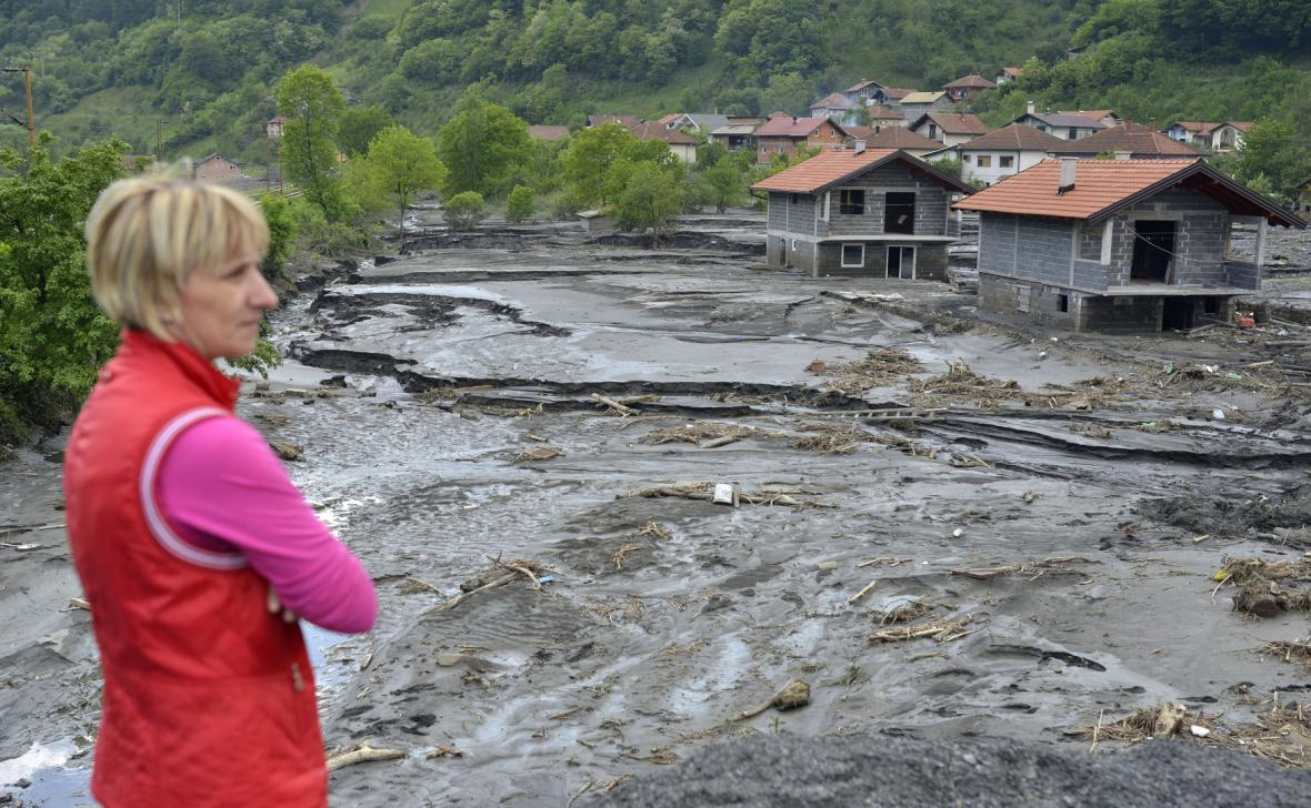Následky povodní v jedné z bosenských vesnic