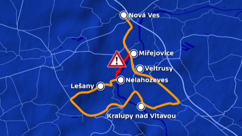 Objížďka přes Kralupy nad Vltavou