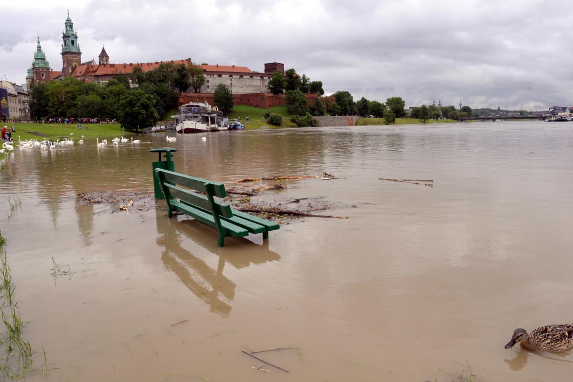 Rozvodněná Visla v Krakově