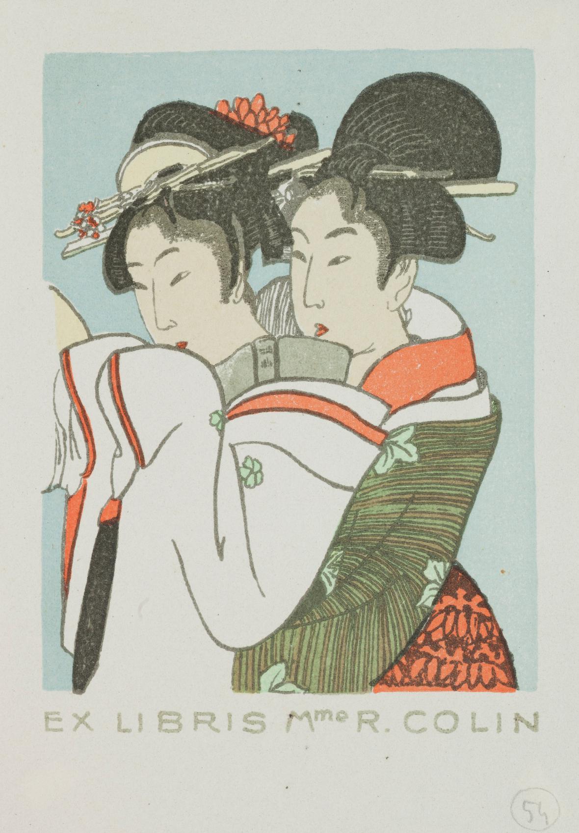 Otakar Vaňáč / Exlibris Campbell R. Colin – Japonská dvojice na motivy Kitagawy Utamara, 1926