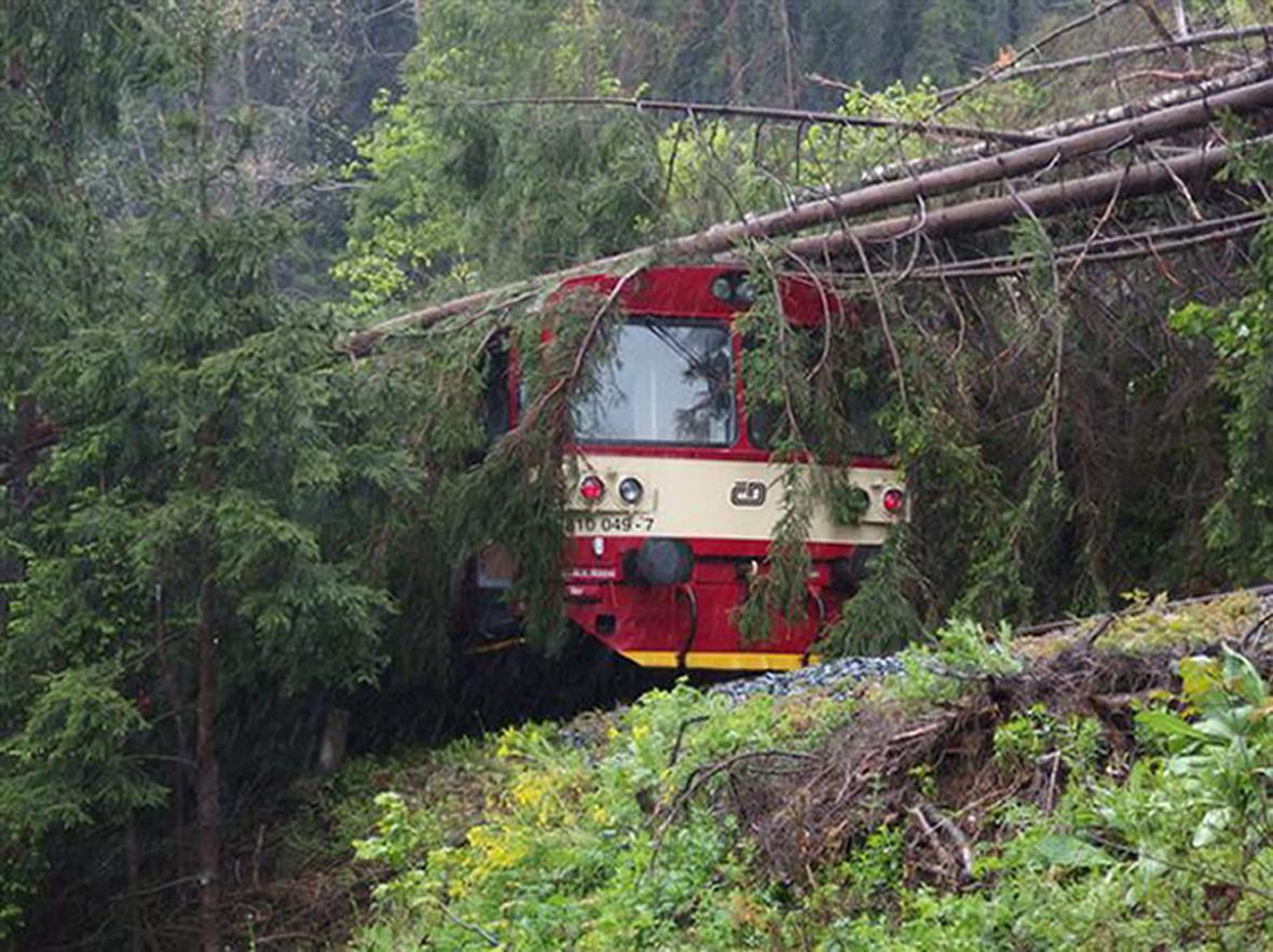 Popadané stromy na  železniční trati mezi Hanušovicemi a Starým Městem v Olomouckém kraji