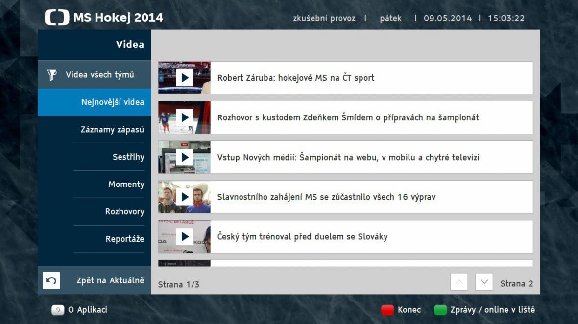 Videa v hokejové aplikaci HbbTV