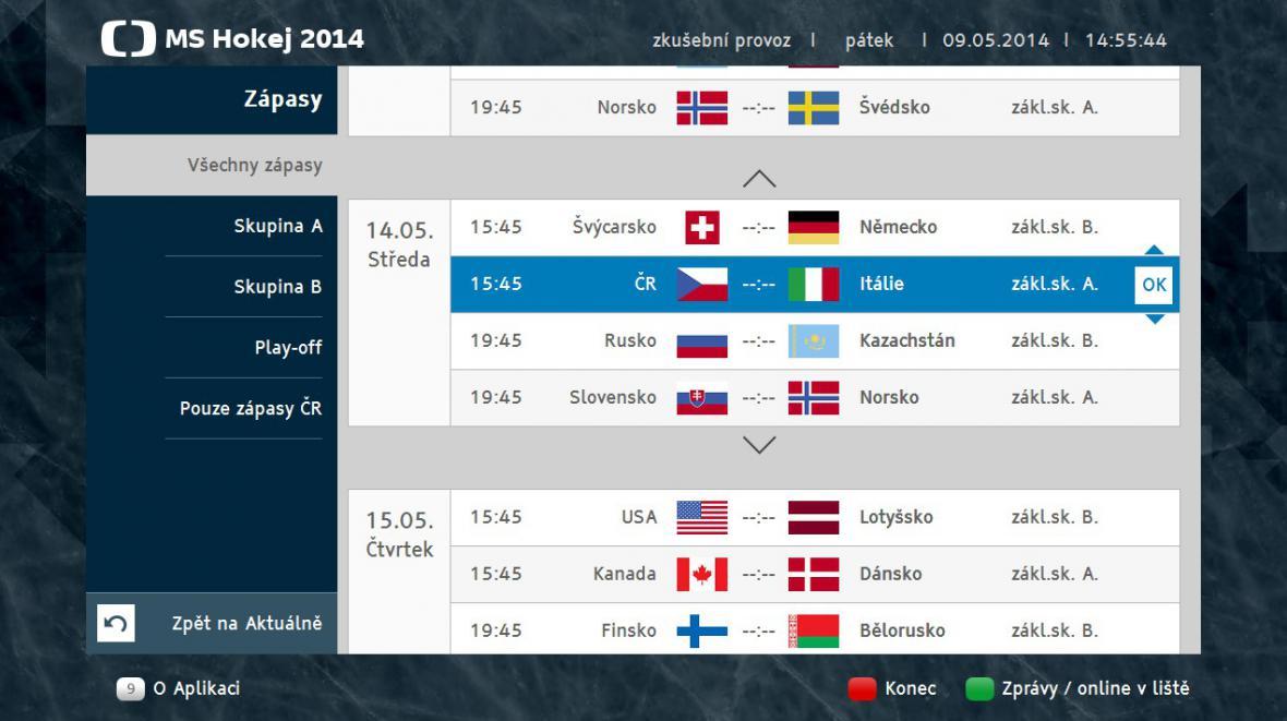 Přehled zápasů v aplikaci HbbTV