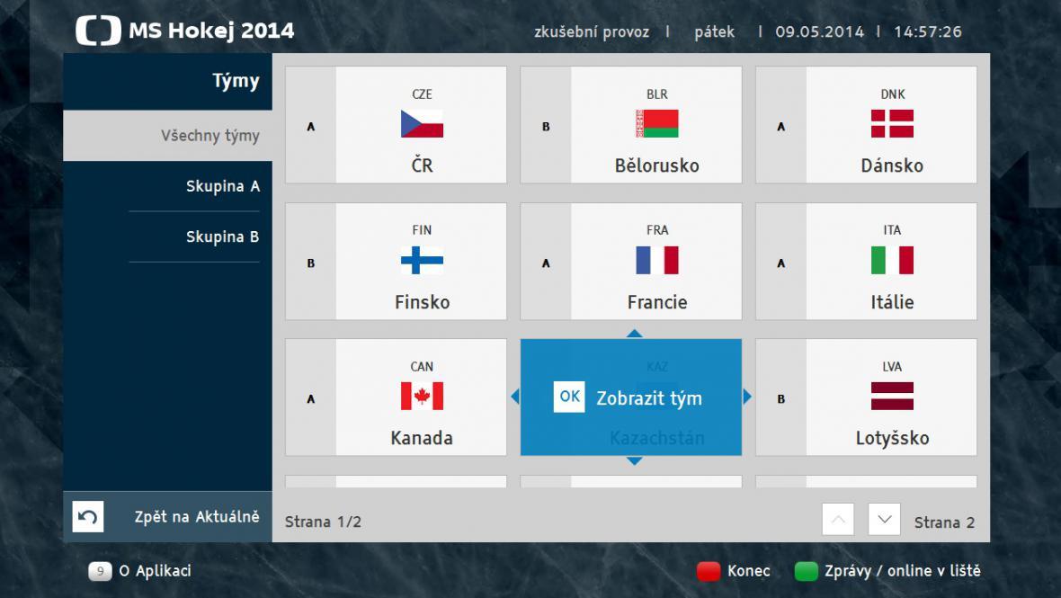 Karta týmů v aplikaci