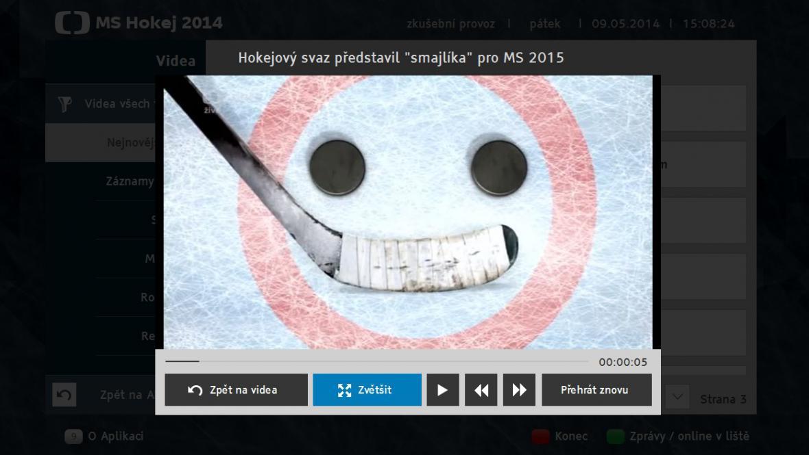 Hokejová aplikace HbbTV