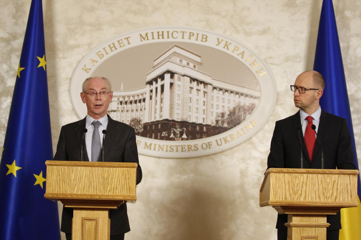 Herman Van Rompuy a Arsenij Jaceňuk