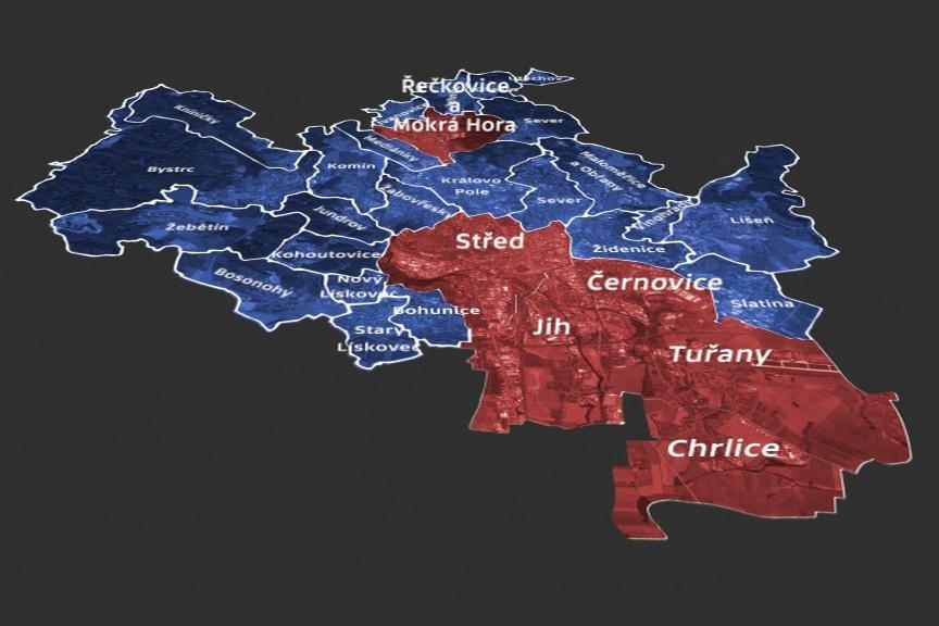 Mapa regulace hazardu (modře celoplošný zákaz; červeně výjimky)