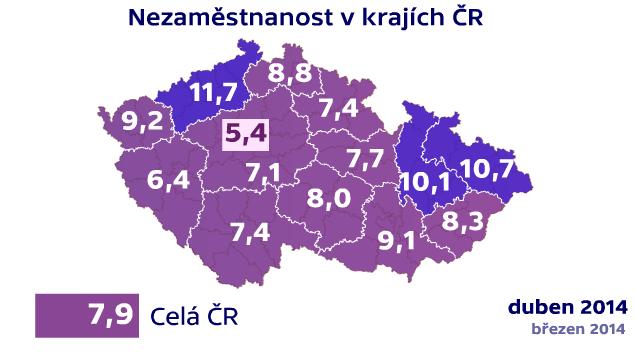 Nezaměstnanost v krajích ČR v dubnu
