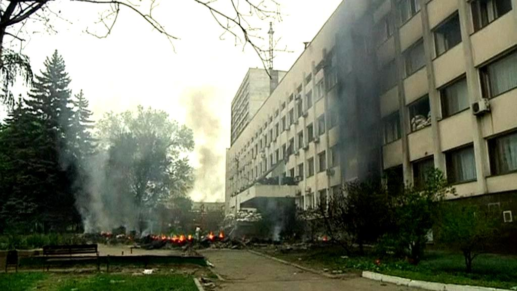 Požár v mariupolské radnici