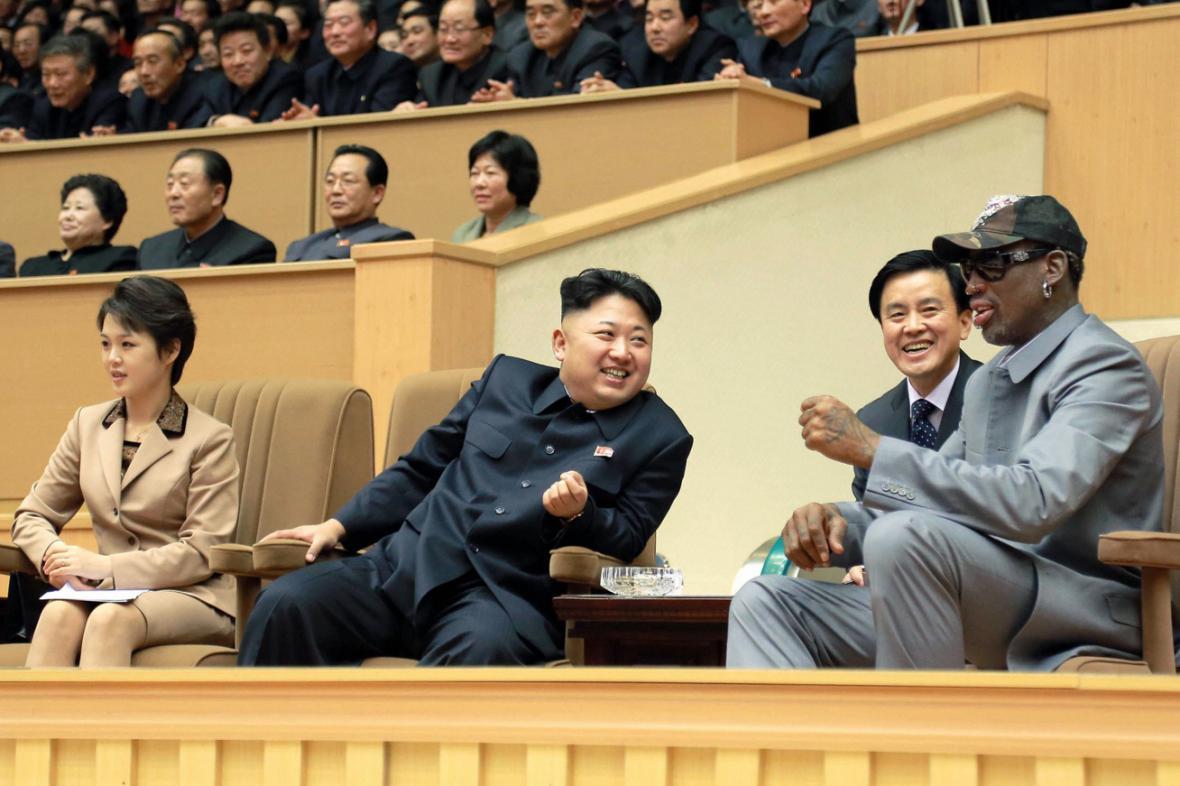 Kim Čong-un s Dennisem Rodmanem