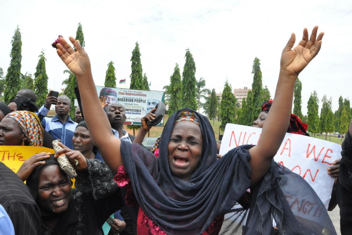 Demonstrace za propuštění unesených Nigerijek
