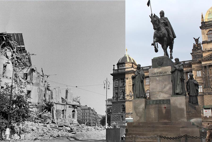 Václavské náměstí v květnu 1945 a dnes