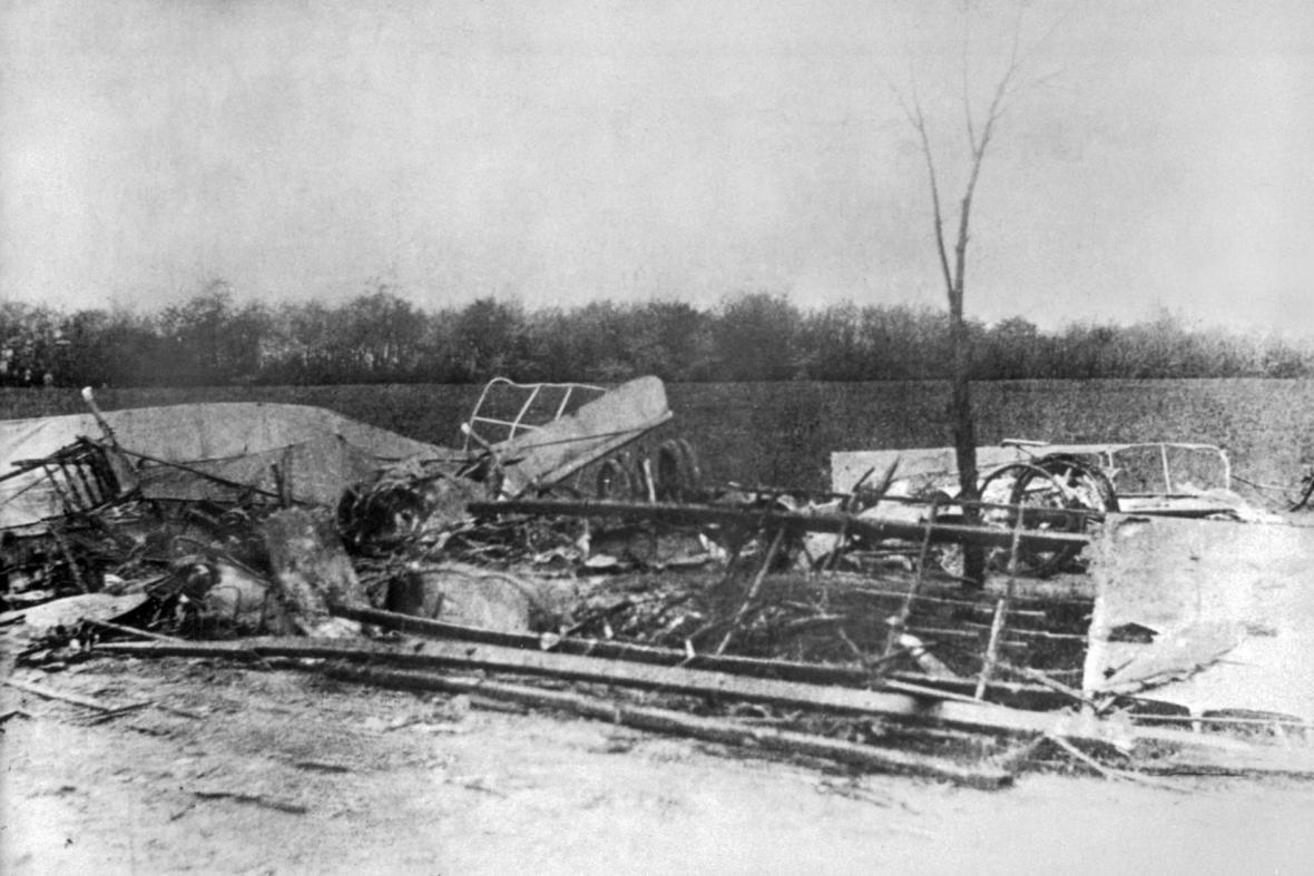 Zničené letadlo Milana Rastislava Štefánika