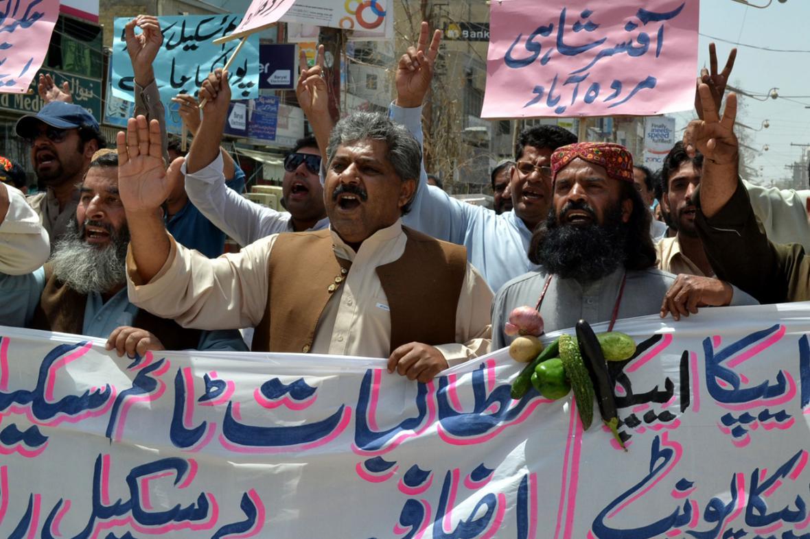 Pákistánci na 1. máje demonstrovali za lepší pracovní podmínky a vyšší mzdy