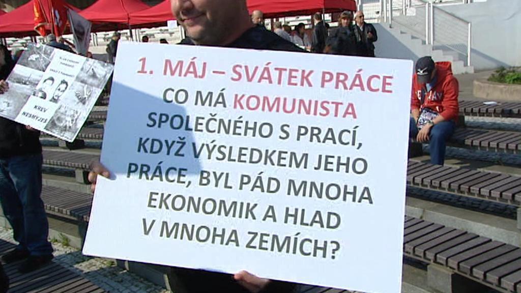 Protest proti komunistickým oslavám Svátku práce