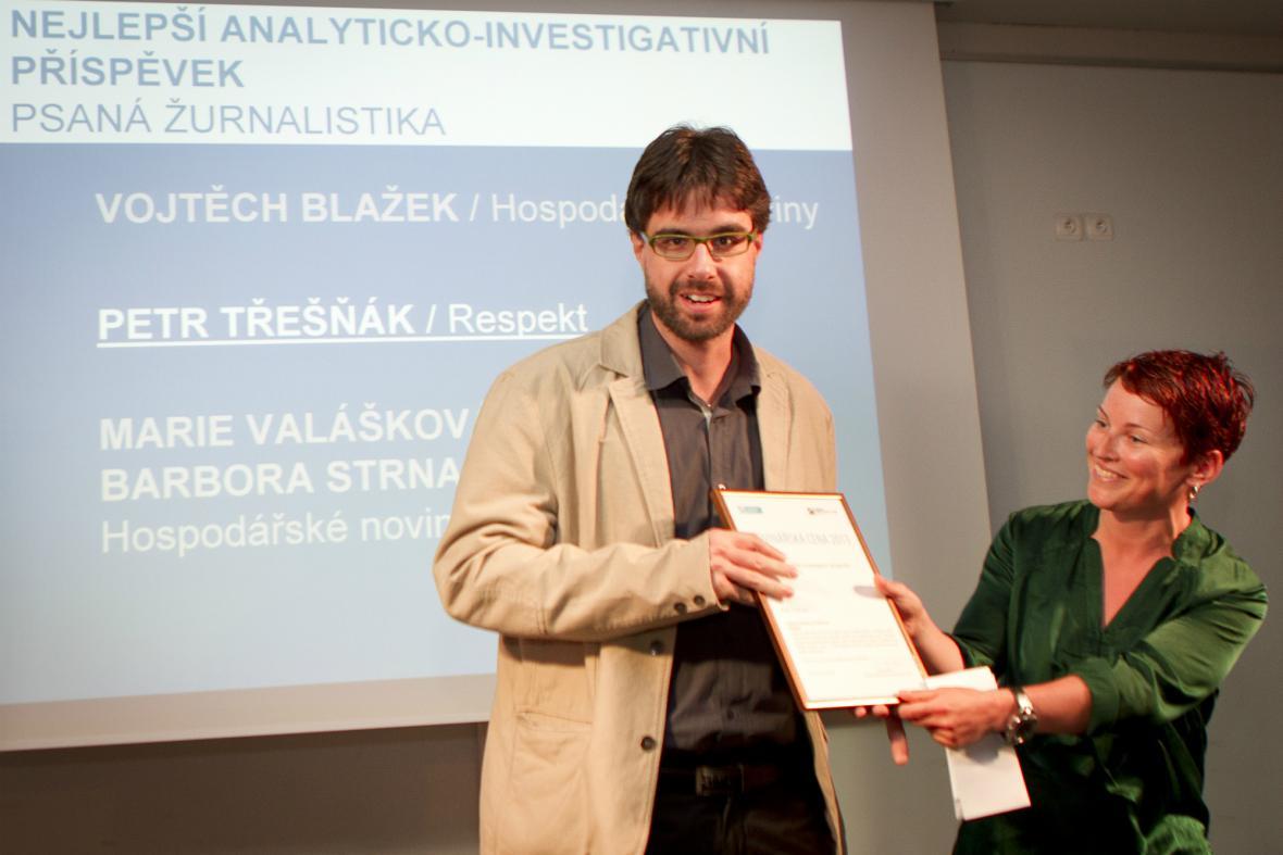 Petr Třešňák (Respekt) s cenou za investigativní příspěvek