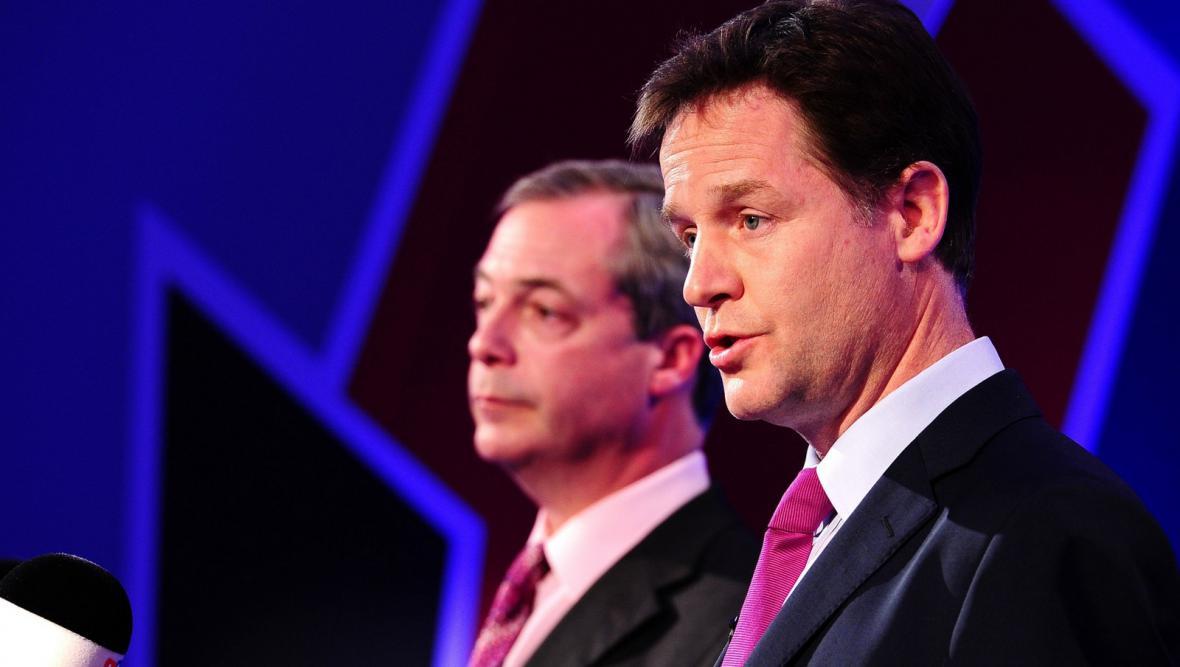 Nick Clegg a Nigel Farage v televizní debatě