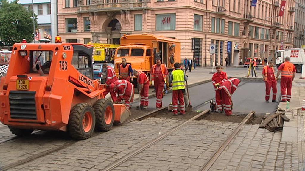 Oprava tramvajových tratí v Praze