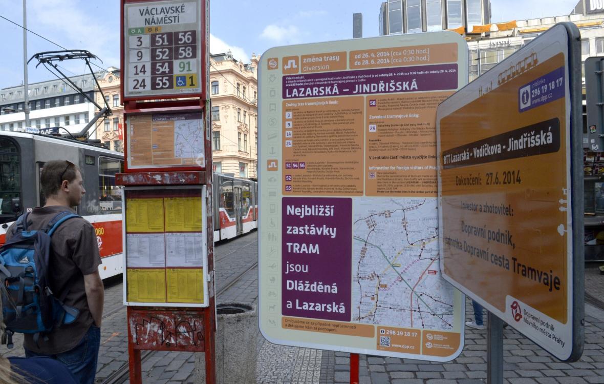 Cedule upozorňují na výluku tramvají v centru Prahy