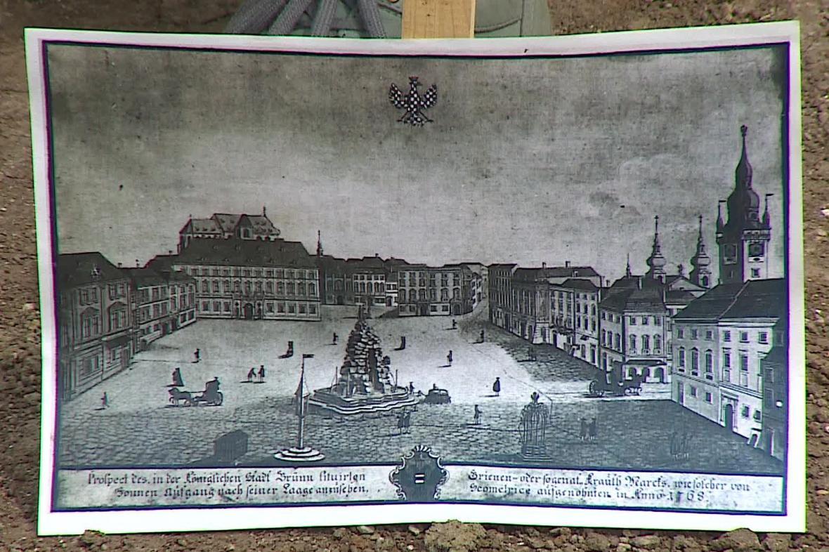 Historické vyobrazení Zelného trhu v Brně