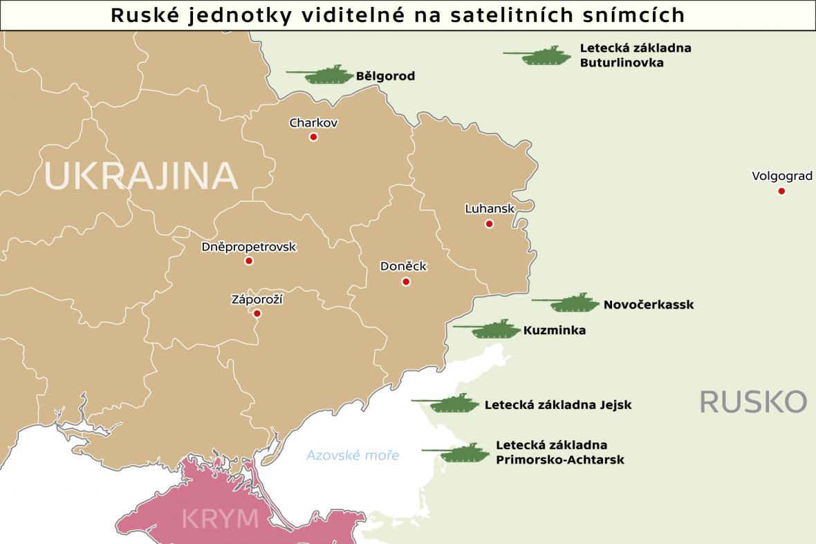 Ruské jednotky viditelné na satelitních snímcích