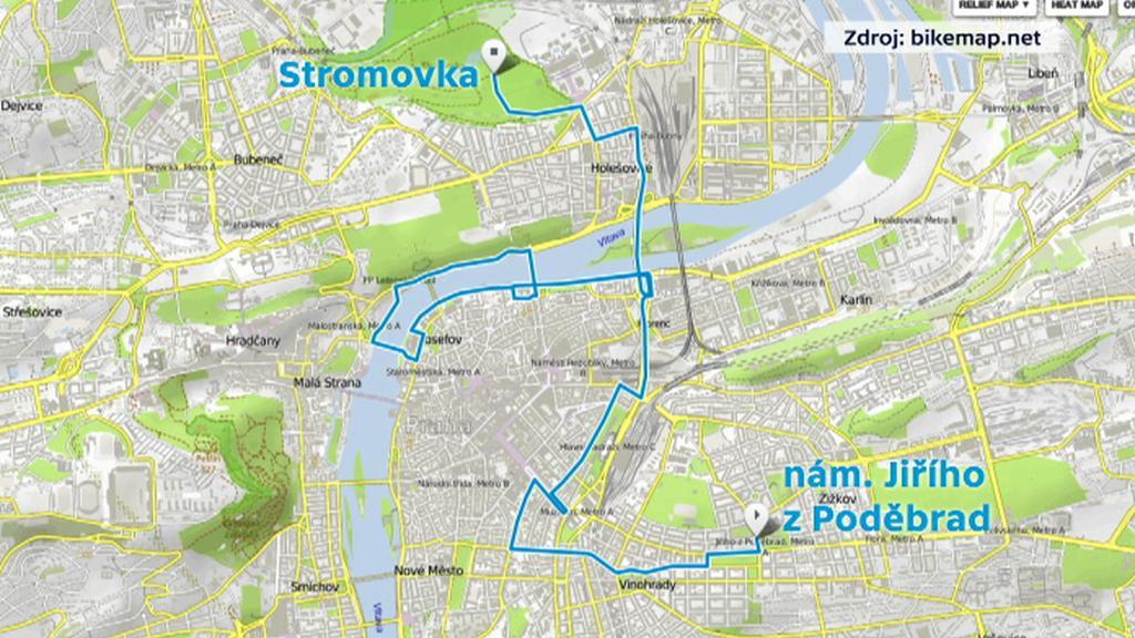 Trasa pražské cyklojízdy