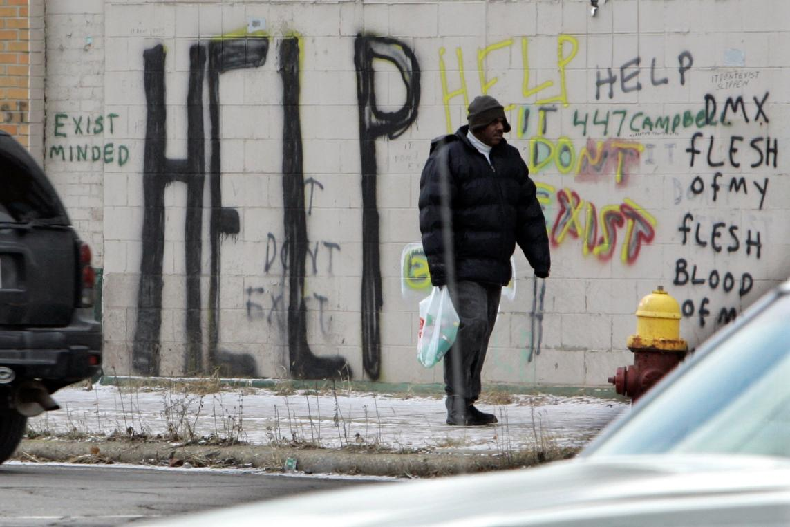 Nemilosrdná tvář chudé části Detroitu