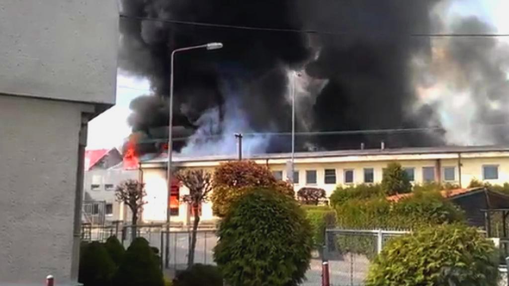 Požár galvanovny v Lanškrouně