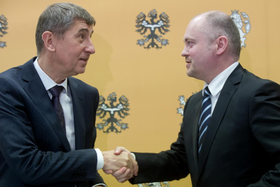 Ministr financí Andrej Babiš s hejtmanem Jihomoravského kraje Michalem Haškem