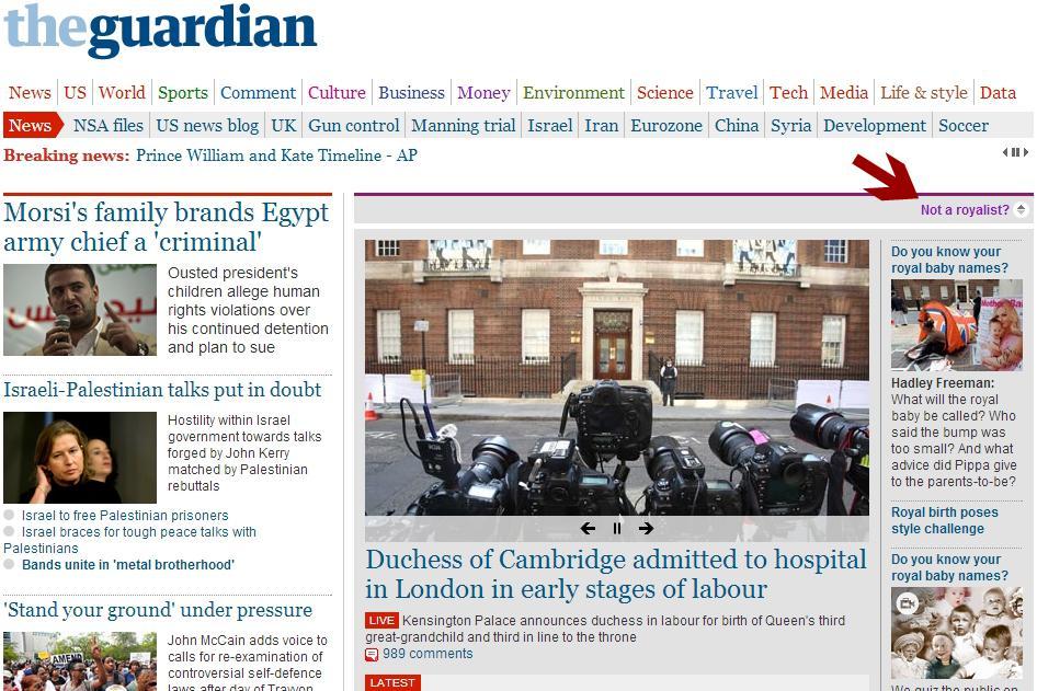 Čtenáři webu Guardianu si mohli vypnout zprávy o královském potomkovi